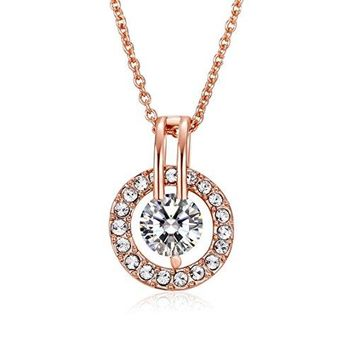 Rose Gold Plated Sterling Silver Necklace - Elegant 925 Silver Necklace With Cubic Zirconia Necklaces For Women