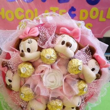 Mickey Plush Doll (Pink) Flower Bouquet with Ferrero Rocher Chocolates. Great baby shower/ birthday/ wedding gift!