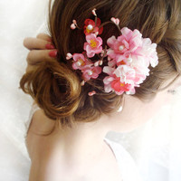 hot pink bridal hair accessories, cherry blossom hair clip, fuchsia wedding hairpiece - DEVOTEDLY - pink and white bridal hair accessory