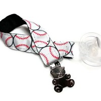 Binkie Holder Pacifier Baby Boy Baseball Theme Teddy Bear Secure Cute | PinkCloudsAndBabyBlue - Children