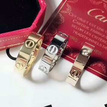 Cartier New fashion couple rings women ring diamond on simplicity