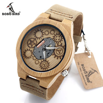 Special Bamboo Wood Watch Movement Outside With Genuine Cow Leather Band