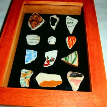 Vintage Pottery Shards in a Shadow Box Beach Nautical Decor