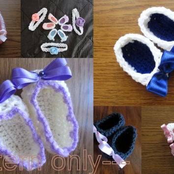 Baby Crochet ballerina shoes  Pattern Newborn up to 12 months  Newborn Baby shoes, Instant Download,  PATTERN PDF , Baby Ballerina Slippers