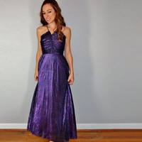 Purple Maxi Dress, Grecian Goddess Royal Purple Princess Dress, Formal Elegant and Classy Evening Dress, Small XS