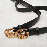 GUCCI Woman Men Fashion Smooth Buckle Leather Belt G