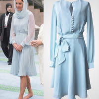Light baby ice blue chic chiffon shirt dress inspired by Duchess Kate Middleton