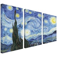 ArtWall 3-Piece Starry Night by Vincent Van Gogh Gallery Wrapped Canvas Artwork, 24 by 36-Inch