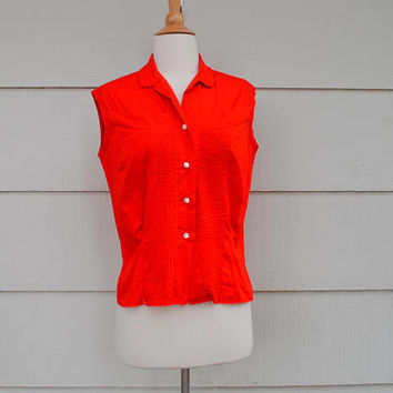 Vintage Red Sleeveless Top, Pleated Tuxedo Front, Button Down Rockabilly Shirt, Macshore Classics, Bust Size 32, 1960s