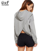 Women Sweatshirts Hoodies Clothes Autumn Women Heather Grey Shoulder Split Back Hoodie