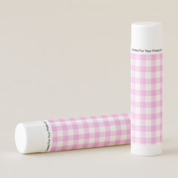 Pink Rose Checkered Pattern Lip Balm