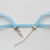 Baby blue plain velvet ribbon adjustable choker with a width of 3/8""
