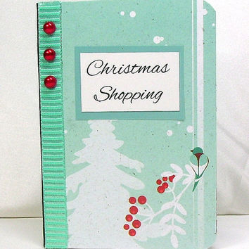 Aqua Christmas notebook, Holiday note book, Aqua winter scene, Festive red berries, Snow covered white tree, Christmas shopping, To do lists