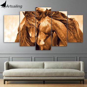 5 piece canvas art red horse couple posters modern canvas painting wall pictures for living room free shipping XA1600A