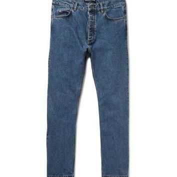 ONETOW balenciaga slim fit cropped stonewashed denim jeans 2