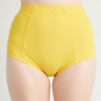 ModCloth Vintage Inspired High Waist Poolside Pretty Swimsuit Bottom in Sunshine