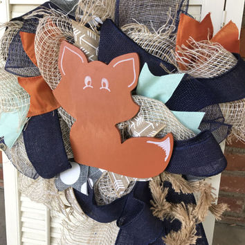 Fox Nursery Navy Gray Mint Nursery Copper Woodland Nursery Wreath Baby  Hospital Door Fox Baby Shower Baby Decor Fox Baby Nursery WoodlandBa