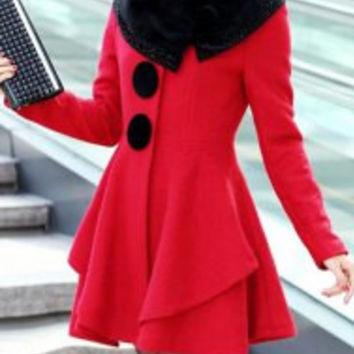 Red Long Sleeves Faux Fur Collar Wool Coat
