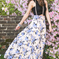 Bianca Floral Blush Pleated Maxi Skirt
