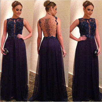 2016 Elegant Long Navy Blue Beaded Corset Prom Dresses Party Evening Gown Formal High Neck Chiffon Appliques Dress For Women