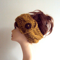 Mustard Yellow Knit Head Band Ear Warmer Cowl Neckwarmer Dreadlock Rasta Wide Cable Knit Headband Women Fashion Accessories Hair Accessories