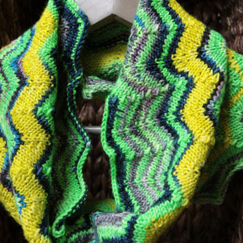 Missoni Inspired Knit Cowl Knit scarf, infinity scarf, cowl scarf, winter accessories, circle scarf, cowl scarf / Ready to Ship!