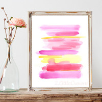 Abstract Watercolor Painting Print Pink Purple Yellow Stripes Modern Art Instant Download Abstract Sunset Watercolor Painting Minimal Art