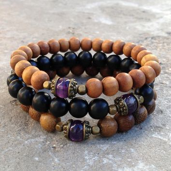 Healing - Genuine Amethyst Guru Bead Sandalwood, Ebony, and Wood Beaded Set Of 3 Mala Bracelets
