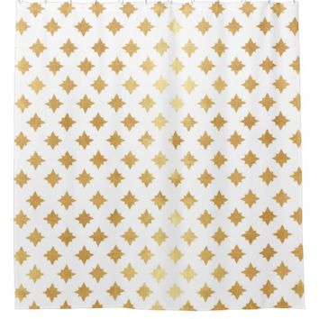 gold christmas stars pattern,trendy,cute,girly,fun shower curtain