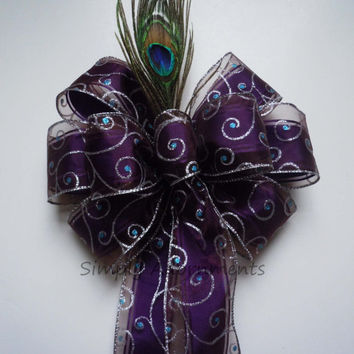 Peacock Purple Themed Wedding Party Decoration Pew Bow Plum Purple Silver Church Pew Bow Peacock Bridal Shower Decor