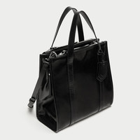 CRACKED LEATHER TOTE BAG Look+: 1 of 1