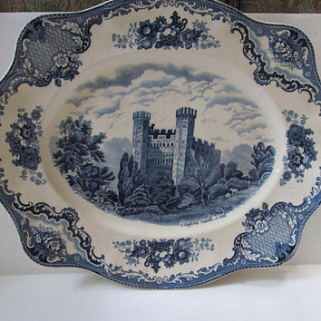 Large Castle Blue Platter Antique Platters Antique Farmhouse decor Farmhouse China Turkey Platter Stafford Castle Pattern China Johnson Bros