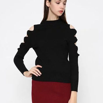 Black Cut Out Detail Long Sleeve Knitted Sweater