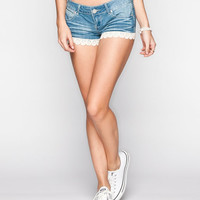 Almost Famous Crochet Trim Womens Denim Shorts Medium Wash  In Sizes
