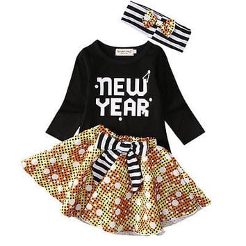 New Girls Dress Toddler Kids Baby Girls Clothes T-shirt+Tutu Dress Headband 3PCS Outfits Dress