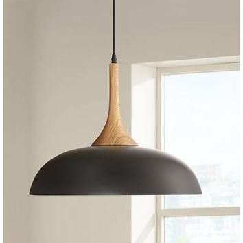 "Felton Black Aluminum and Wood 17 3/4"" Wide Pendant - #1G926 