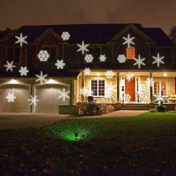 RGB / WHITE Snowflake Automatically Moving IP66 LED Landscape Projector Lighting, Garden Christmas Holiday Decoration Light