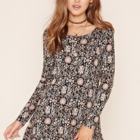 Ornate Print Skater Dress