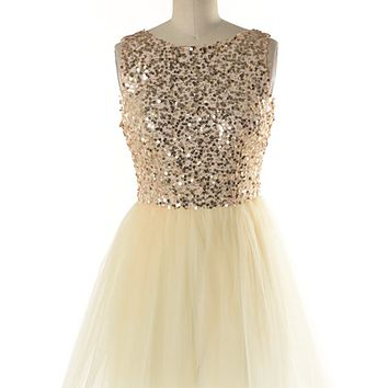 champagne and caviar ballerina sequin tulle dress - GOLD