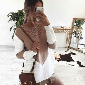 Split Knit Tops Long Sleeve Round-neck Hollow Out Sweater [62982684697]