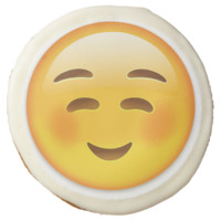 White Smiling Face Emoji Sugar Cookie