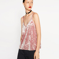 VELVET TOP - View all-T-SHIRTS-WOMAN | ZARA United States