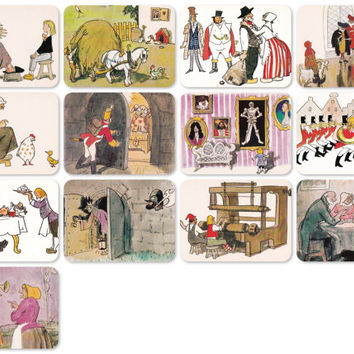 Fairy Tales by Hans Christian Andersen, Drawings by Kokorin. Set of 13 Vintage Prints, Postcards - 1982. Fine Arts Publ., Moscow