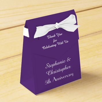 5th Wedding Anniversary Favor Box, Purple Favor Box