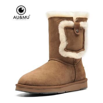 2017 AUMU Australia Fur Flat Suede Wool Lining  Pull On Thick Platform Round Toe Rubber Soles Snow Winter Boots UG N395