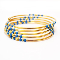 Blue and Gold Tube Memory Wire Bracelet - Stacked Bracelet - Tube Jewelry