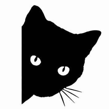 Cat face peering car sticker decals
