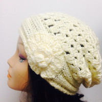 Women's Knit Hat Winter Hat Slouchy Beanie Pompom Hat -Cream Beret / Chunky / Beret /Baggy / Beanie