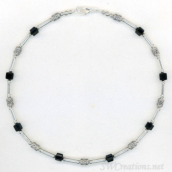 Onyx Gemstone Silver Mens Beaded Necklace