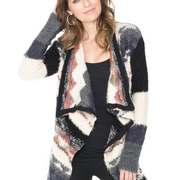 MONICA Abstract Western Print Cardigan Sweater